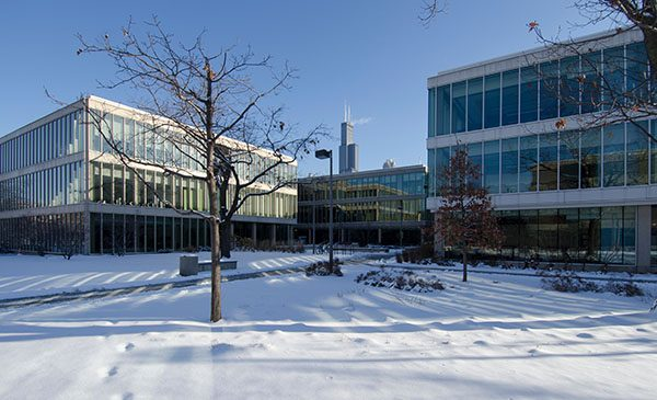 UIC's Grant, Douglas, and Lincoln Halls in the snow with the Willis (Sears) Tower in the background. UIC image.