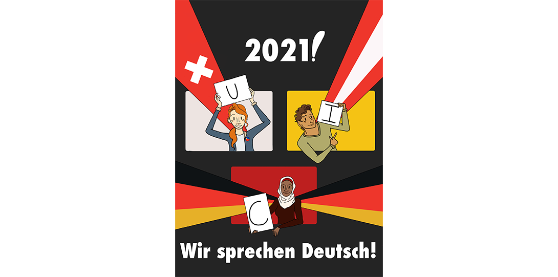 a diverse group of cartoon-like people holding signs spelling out UIC framed by the flags of Germany, Switzerland and Austria and text that reads