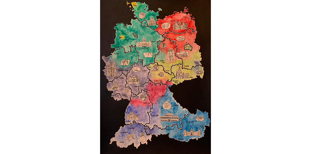 hand drawn map of German with landmarks